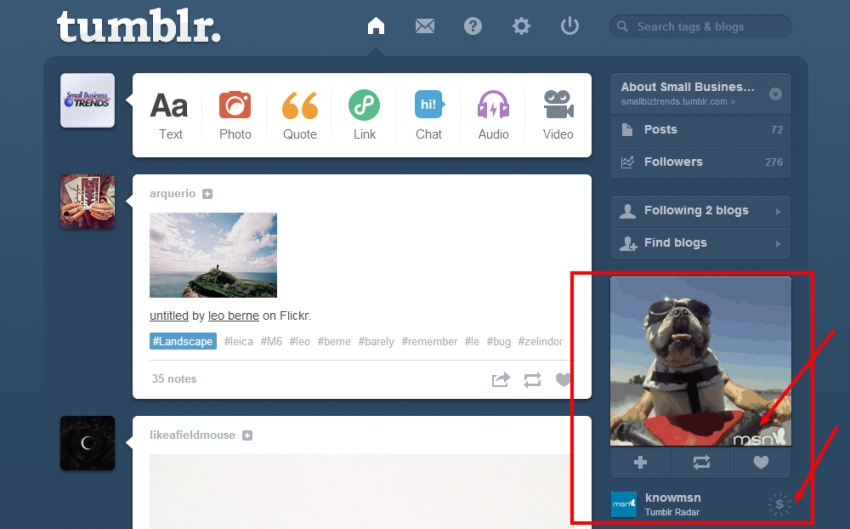 Tumblr dashboard - sponsored posts