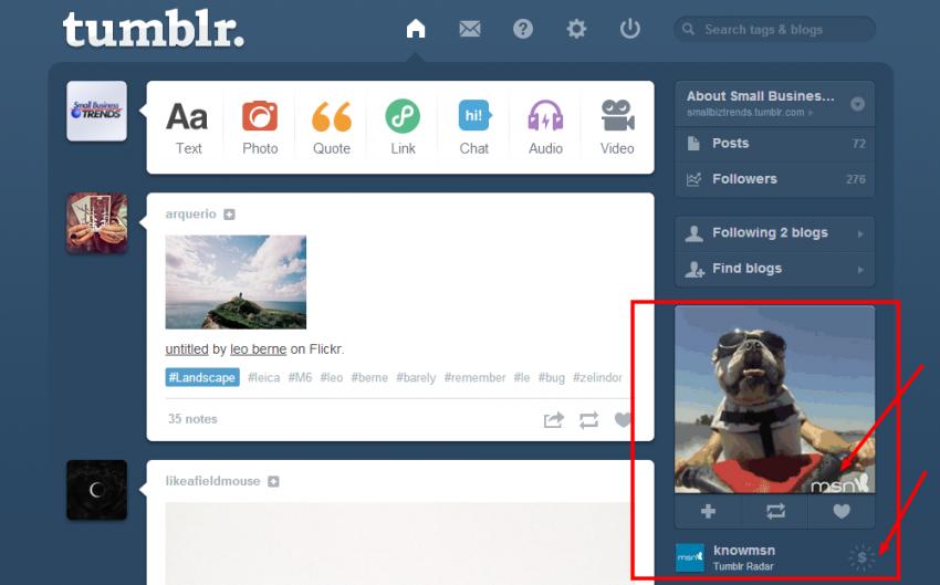 Tumblr dashboard - sponsored posts