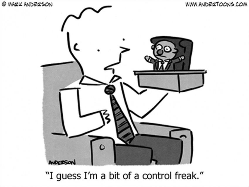 control freak business cartoon