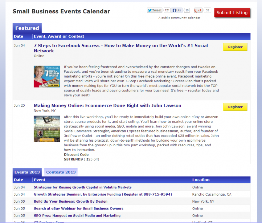 Small Business Events Calendar