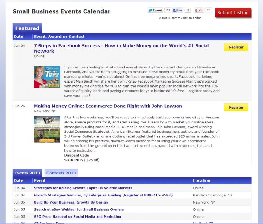 Small Business Events Calendar