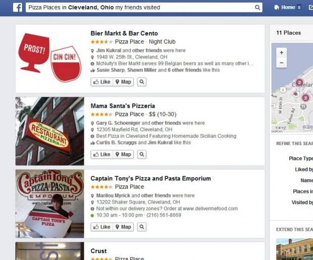 Facebook Graph Search Local businesses
