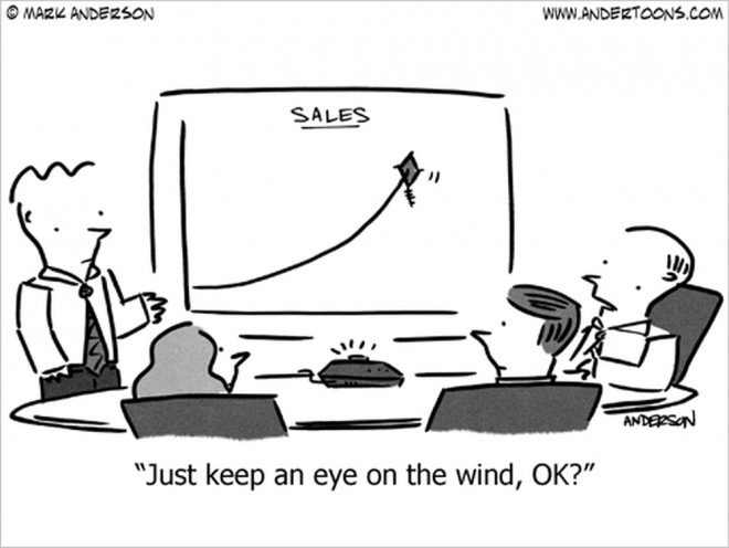 sales are flying high business cartoon