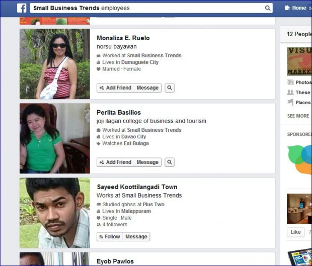 Facebook Graph Search - Find employees