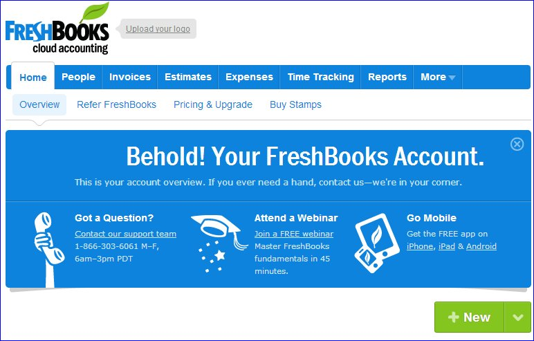 FreshBooks first screen after signup