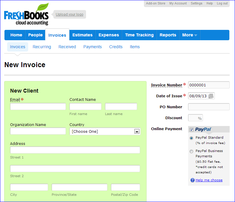 Freshbooks Invoice Creation Step2  Freshbooks Free Invoice