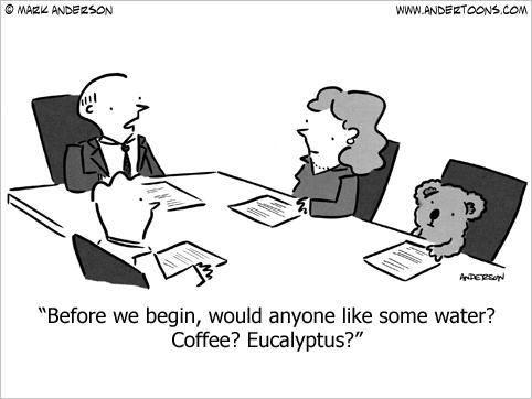business meeting beverages cartoon
