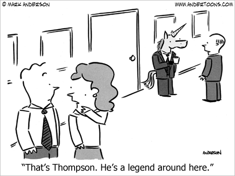 he's a legend business cartoon