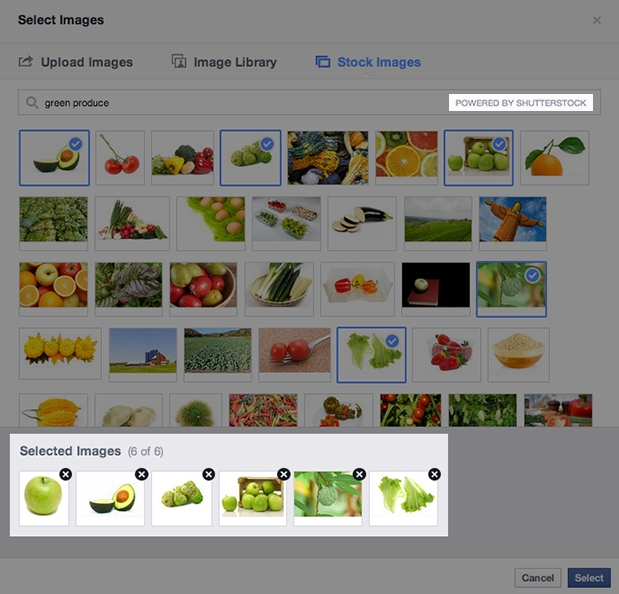 Shutterstock images for Facebook ads