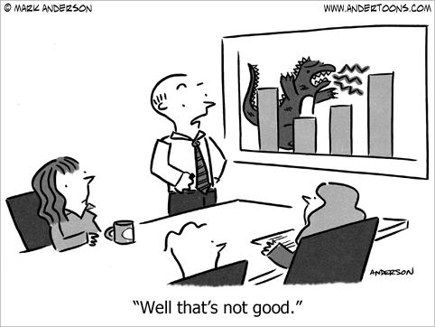 things aren't looking good business cartoon