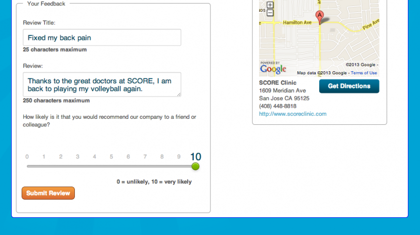 Net promoter scores in Get Five Stars