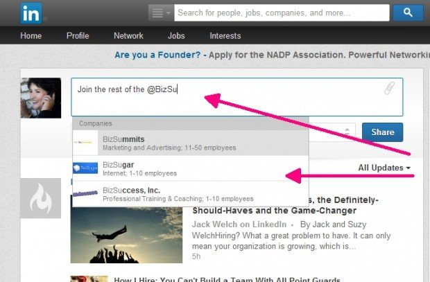 LinkedIn Mentions feature