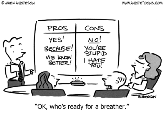 pros and cons cartoon
