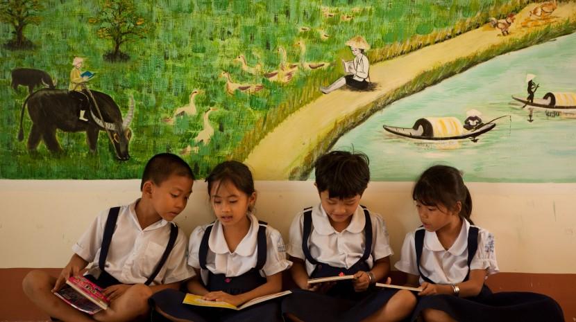 First Graders in Reading Room at ?? school in Mekong Delta, Vietnam