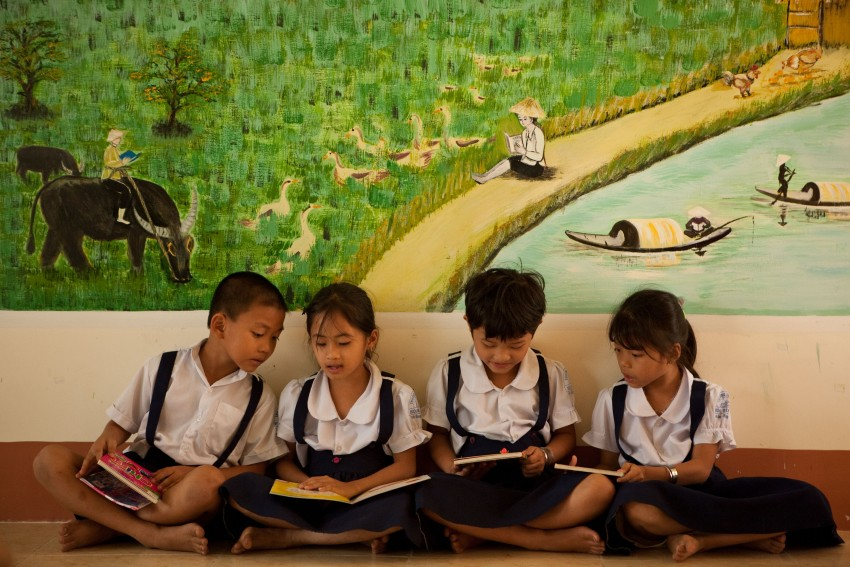 First Graders in Reading Room at ?? school in Mekong Delta, Vietnam