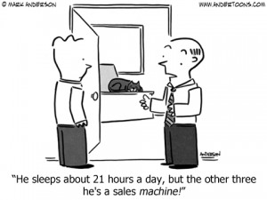 sales machine cartoon