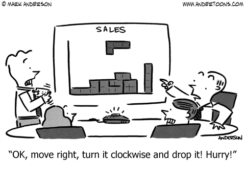 sales meeting cartoon the game of tetris looks a lot like sales