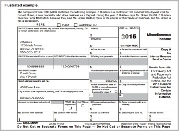 Sample of completed 1099 MISC form for independent contractors