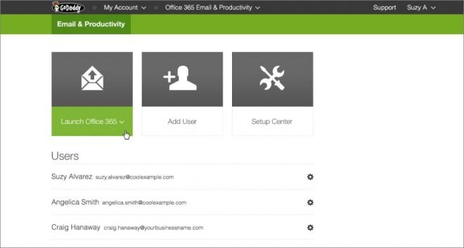 Office 365 GoDaddy admin panel