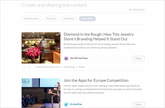 Klout sharing content