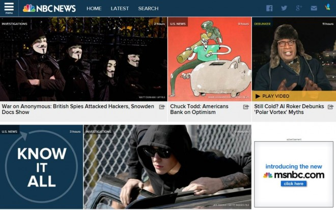 NBC News new site design