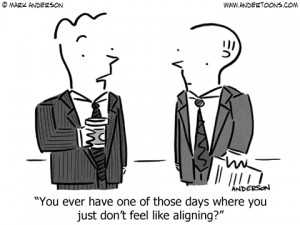 out of alignment business cartoon