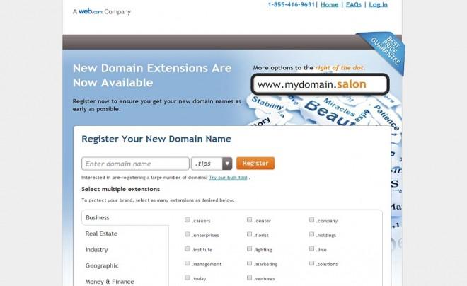 Web.com's 50 new domain extensions