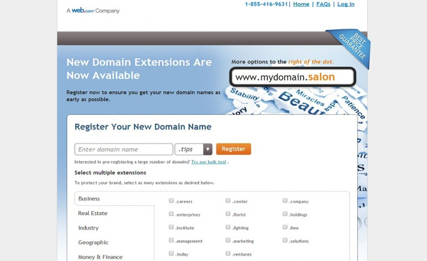 Web.com's 50 new domain extensions