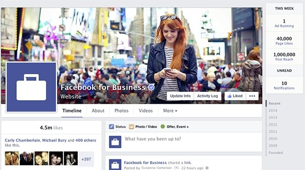 new facebook business page design