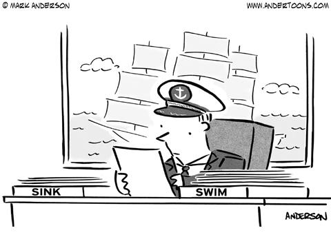 sink or swim cartoon