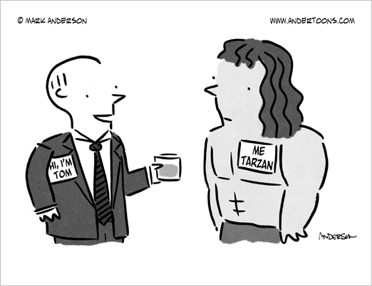 business nametag conference cartoon