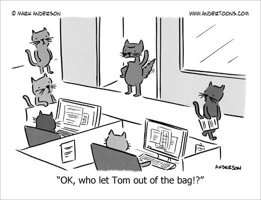 cat out of the bag cartoon