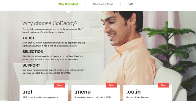 GoDaddy Indian market