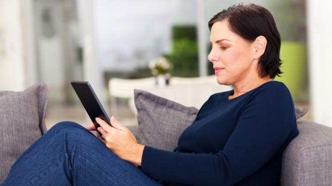 reading on sofa
