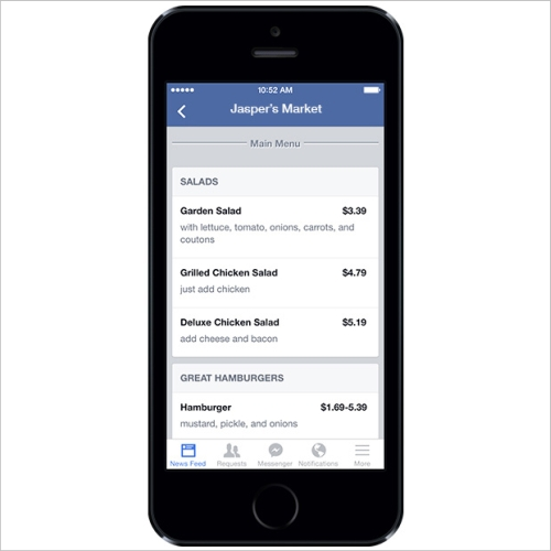 facebook restaurant menus