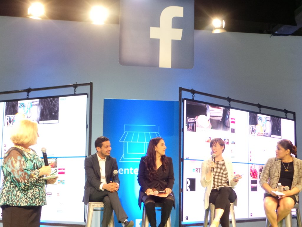 Author Rhonda Abrams moderating a panel of experienced SMBs using Facebook