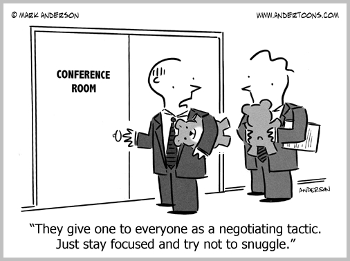 negotiating tactic business cartoon