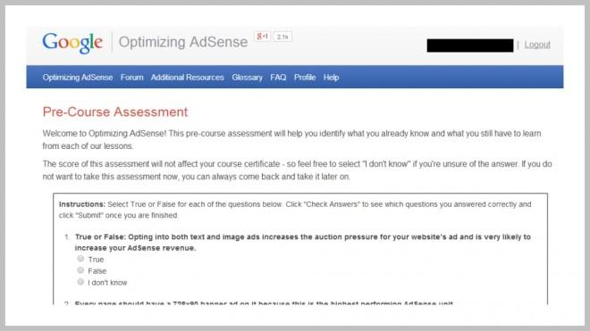 Optimizing Google Adsense Assessment Tool