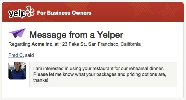 yelp messaging