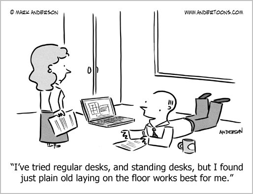 standing desk cartoon