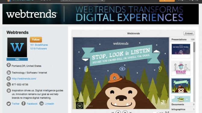 SlideShare custom profile - premium features