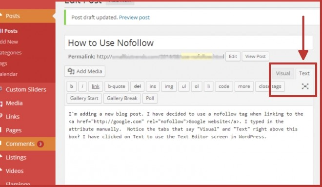 What is nofollow- inerting it using WordPress Text Editor