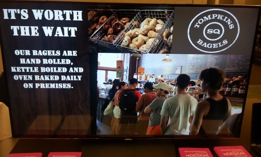 Samsung digital sign - bagel store