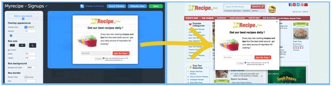 create website popup