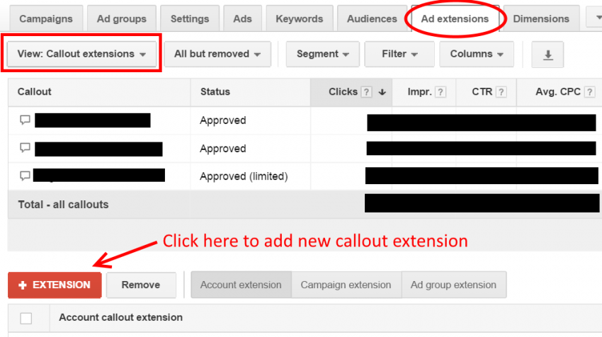 what are callout extensions