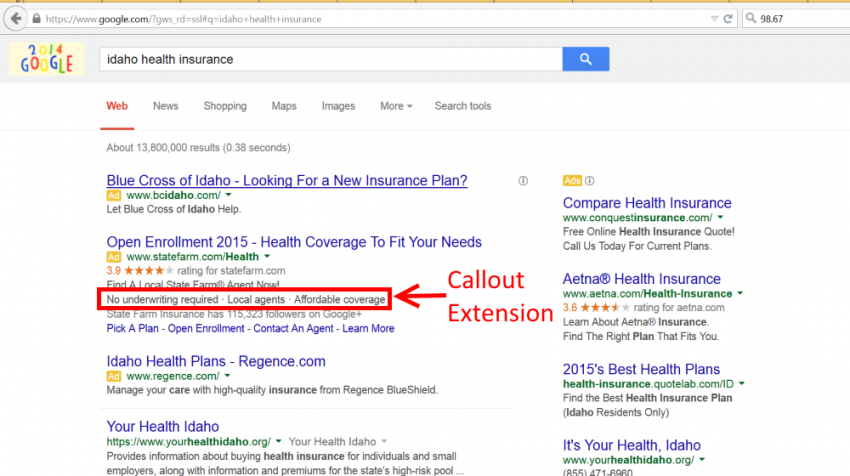 AdWords Callout Extension Example