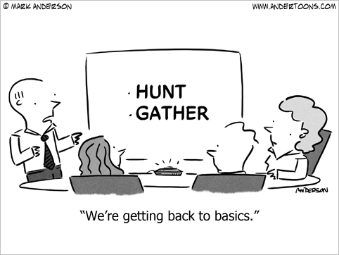 getting back to basics business cartoon