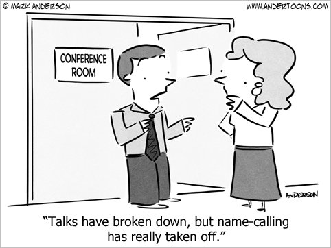 talks have broken down business cartoon