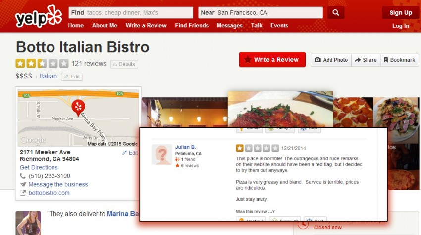 bad yelp review