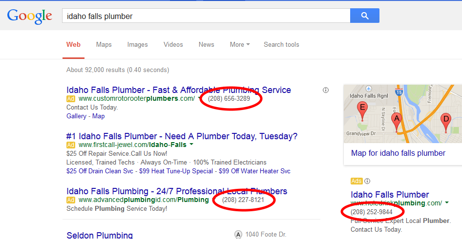 phone calls from adwords